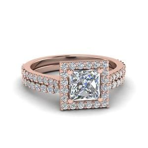 Square Halo Diamond Ring With Thin Band