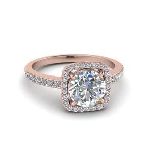 Square Halo Round Cut Diamond Ring In 14K Rose Gold