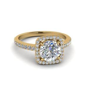 Square Halo Round Cut Diamond Ring In 18K Yellow Gold
