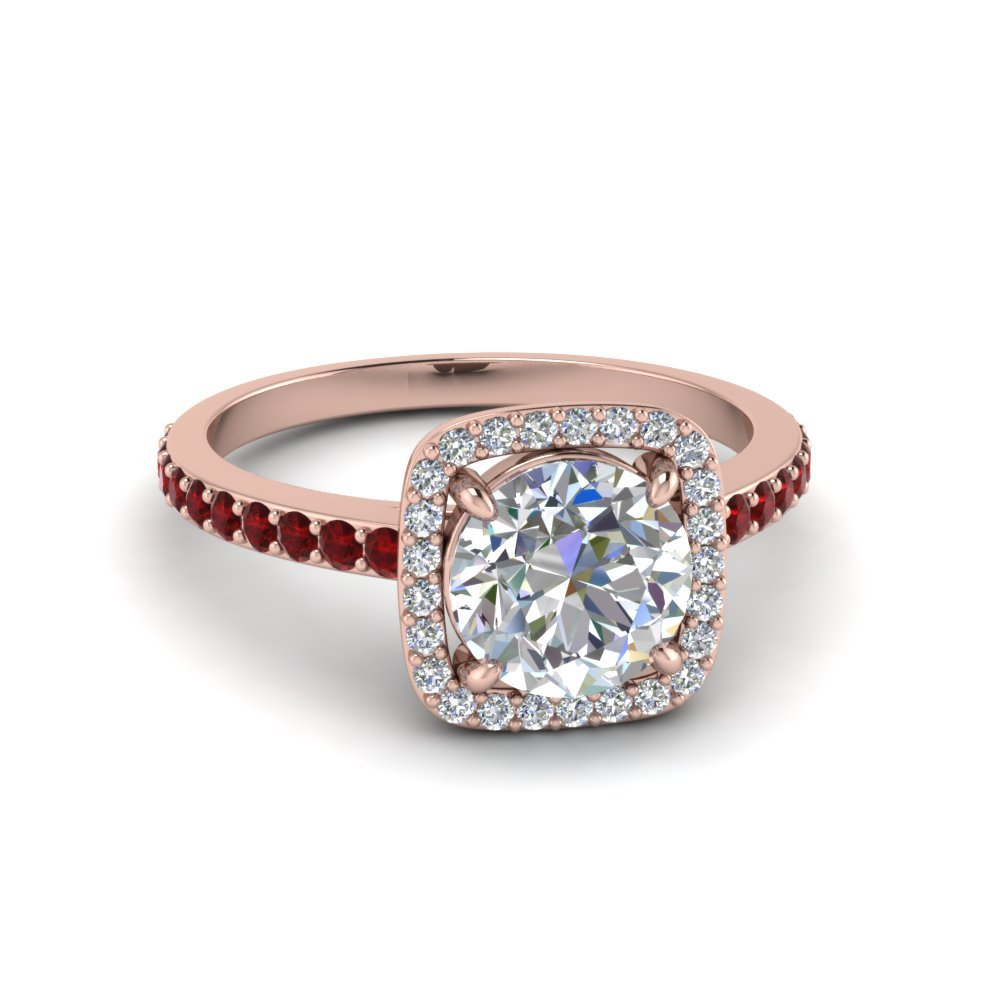 Halo Round Diamond Ring With Ruby