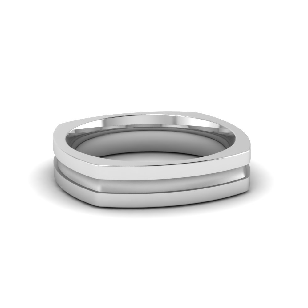Single Inlay Square Wedding Band