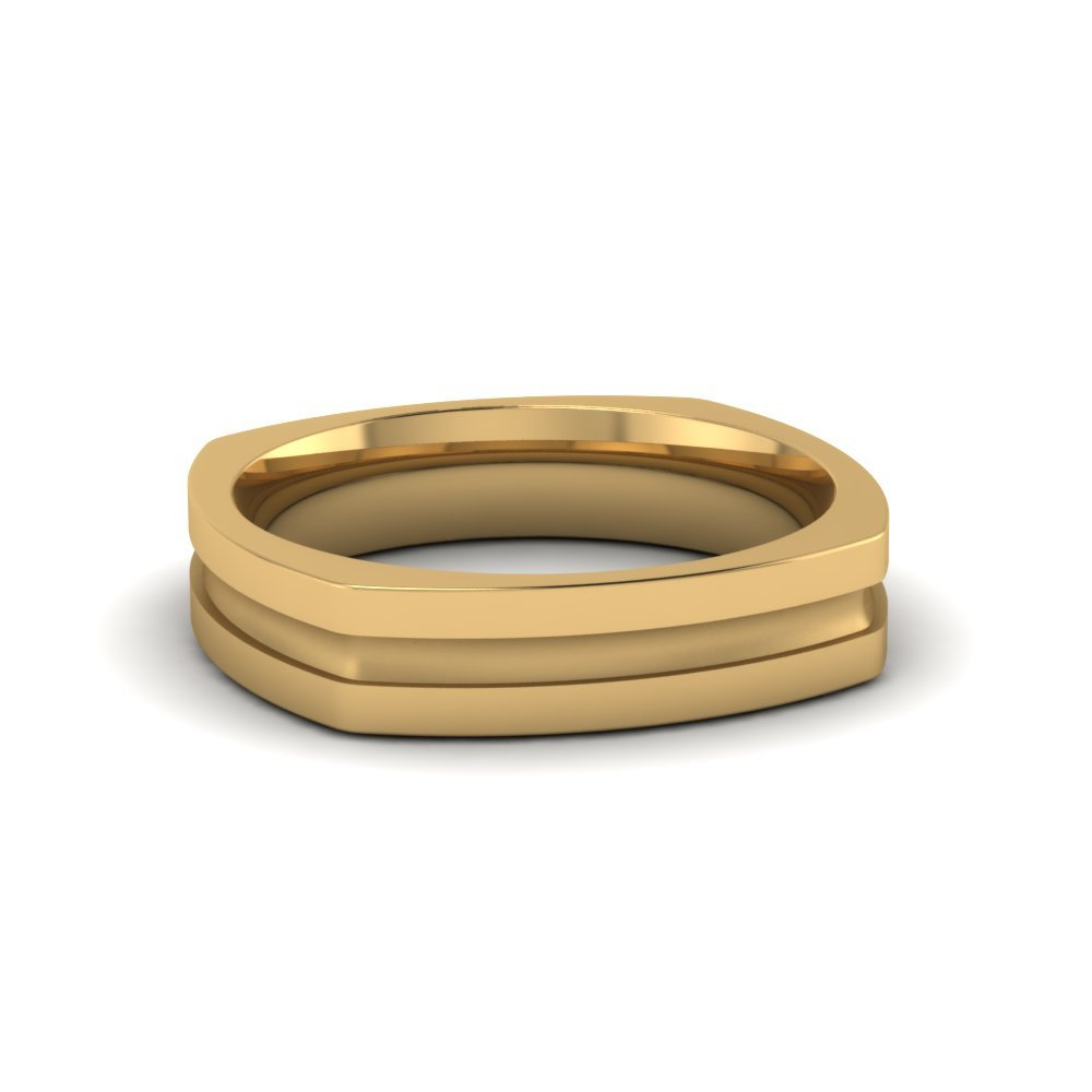Square Mens Gold Mens Wedding Band Comfort Fit Ring In 14k