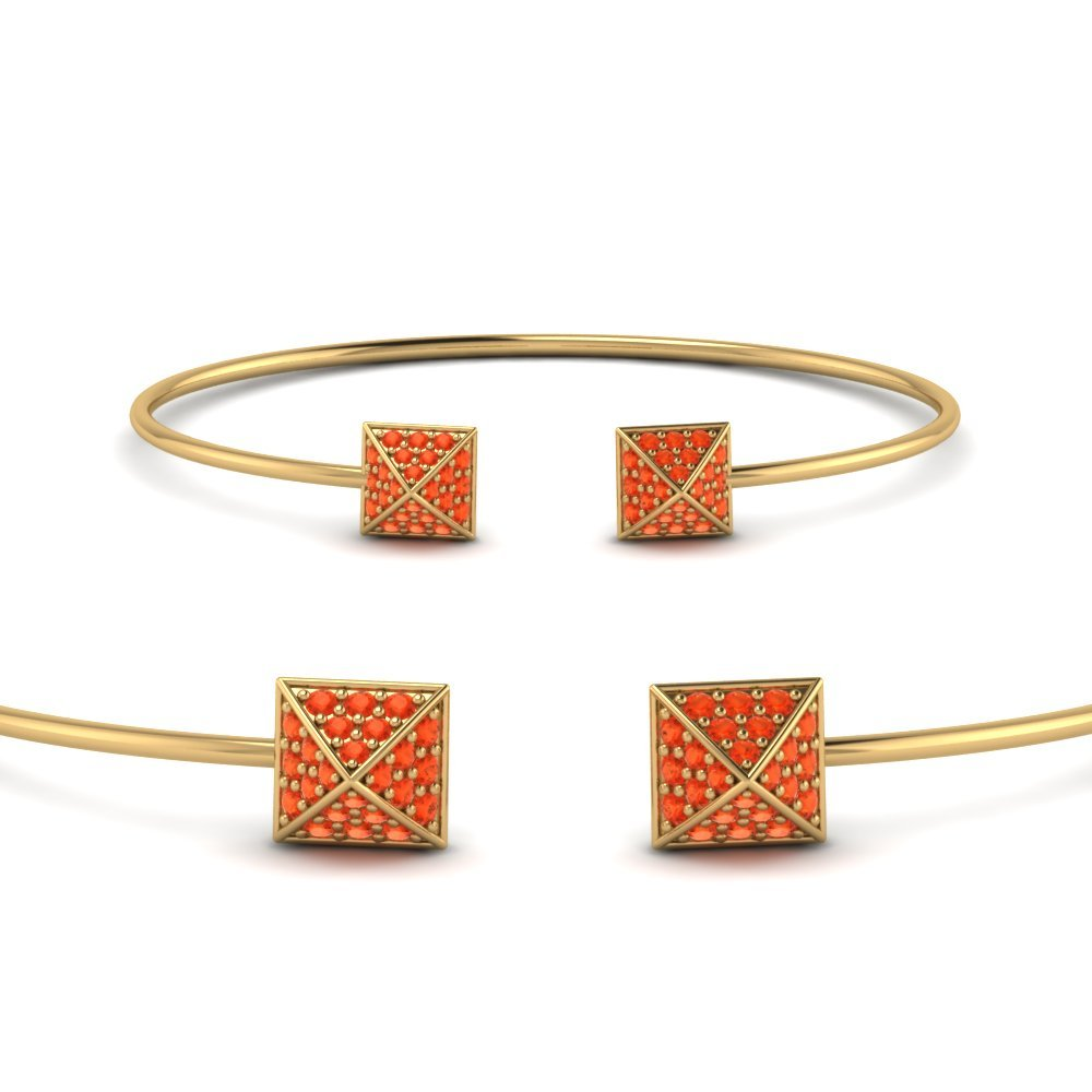 Orange Topaz  Pave Open Cuff Bracelet