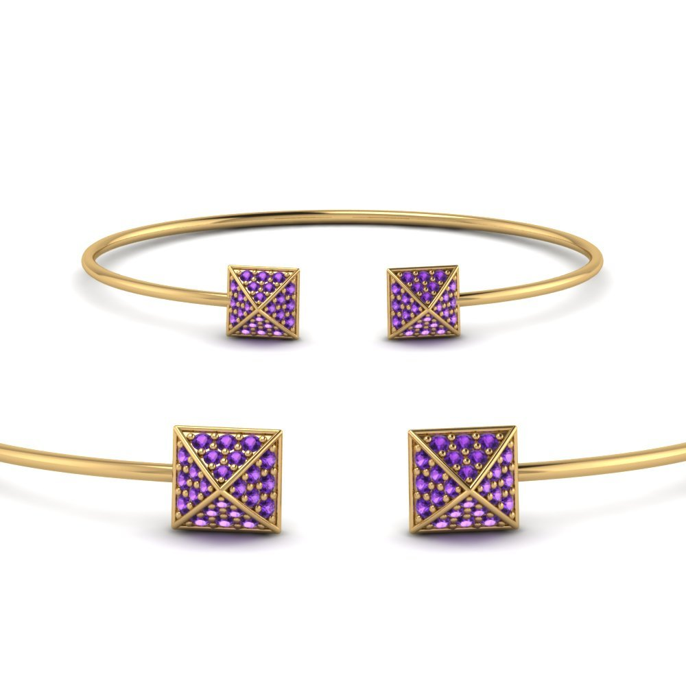 Purple Topaz Open Cuff Bracelet