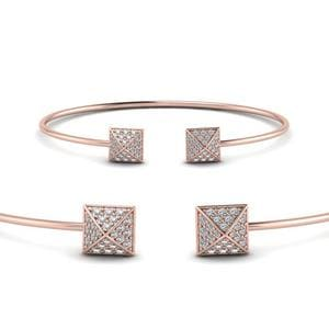 Square Pave Diamond Open Cuff Bracelet In 14K Rose Gold