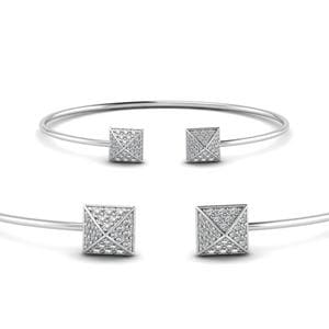 Square Pave Diamond Open Cuff Bracelet