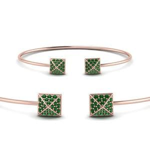 Square Pave Emerald Open Bracelet