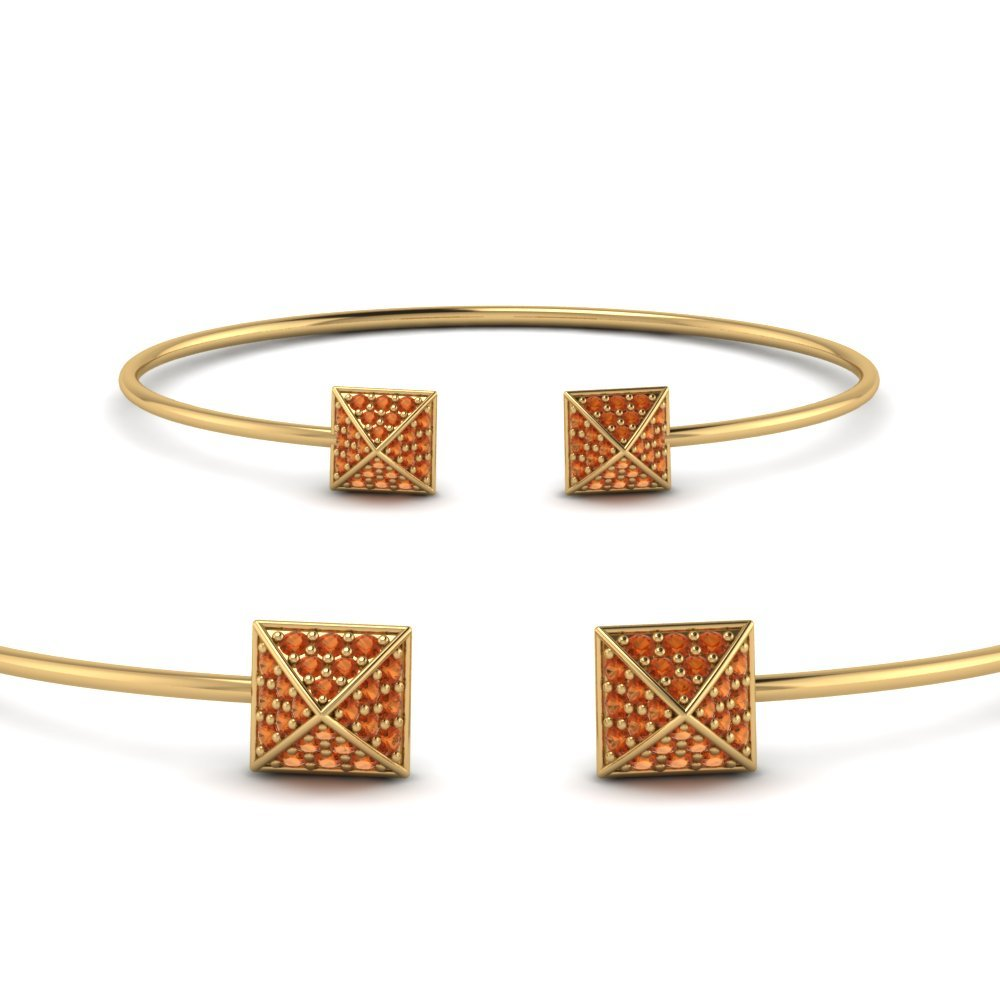Orange Sapphire Yellow Gold Cuff Bracelet