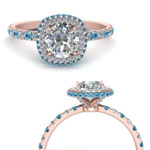 Blue Topaz Petite Under Halo Ring
