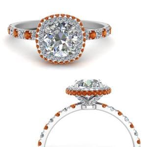 Under Halo Orange Sapphire Ring