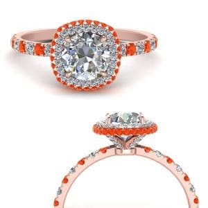 Orange Topaz Under Halo Ring
