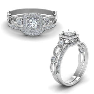 Square Vintage Diamond Bridal Set In 18K White Gold
