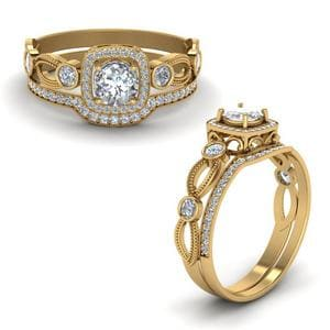 Square Vintage Diamond Bridal Set In 14K Yellow Gold