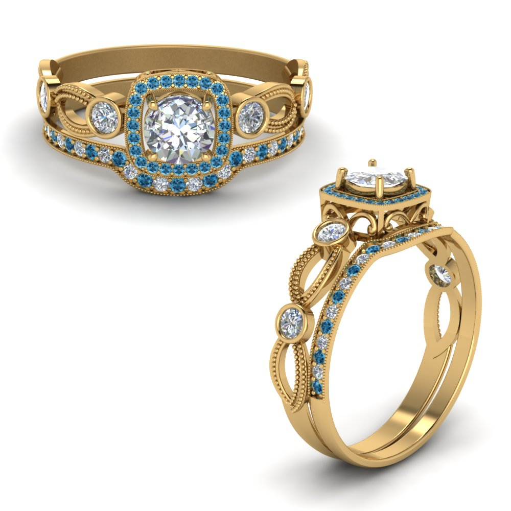Topaz With Diamond Bridal Set