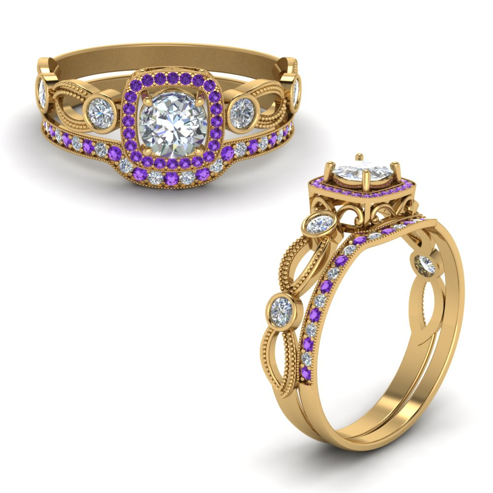 Purple Topaz With Diamond Bridal Set