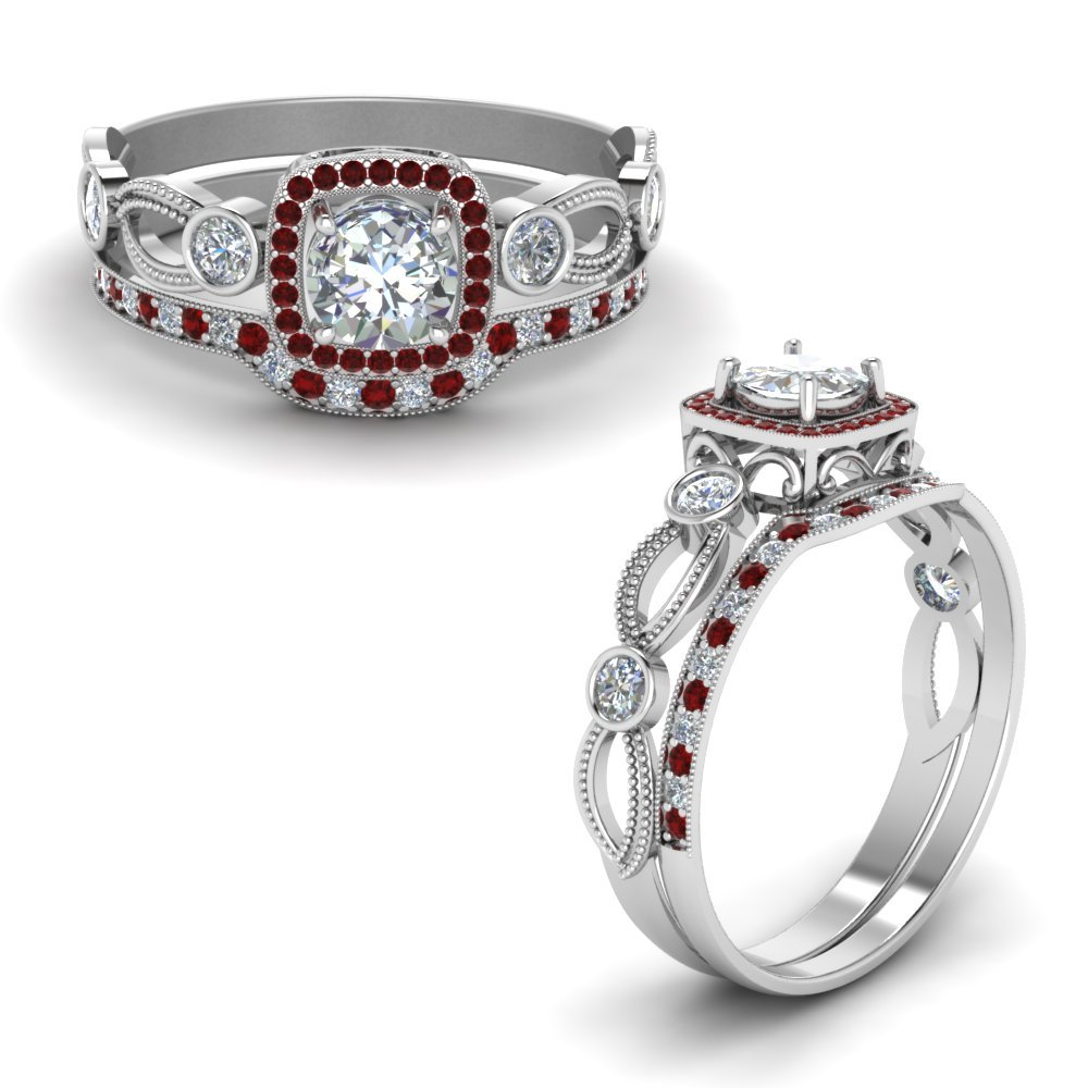 Halo Pattern Ruby Bridal Set
