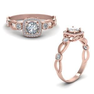 Square Vintage Diamond Engagement Ring In 14K Rose Gold