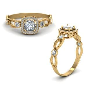 Square Vintage Diamond Engagement Ring In 14K Yellow Gold