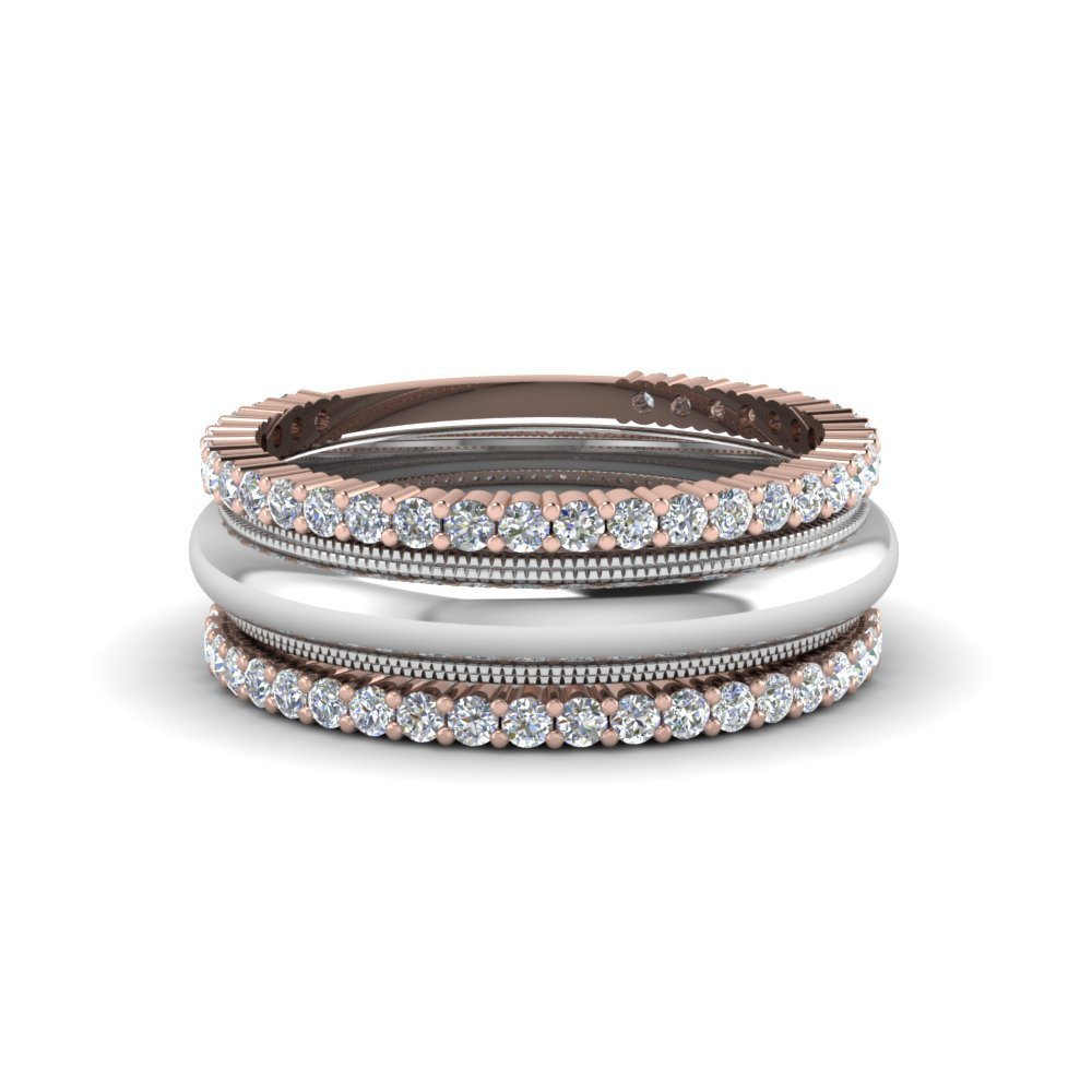 Stackable Two Tone Diamond Band