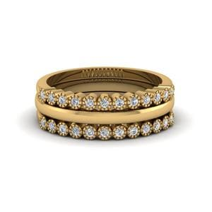 Stackable Diamond Milgrain Women Wedding Ring Bands In 14K Yellow Gold