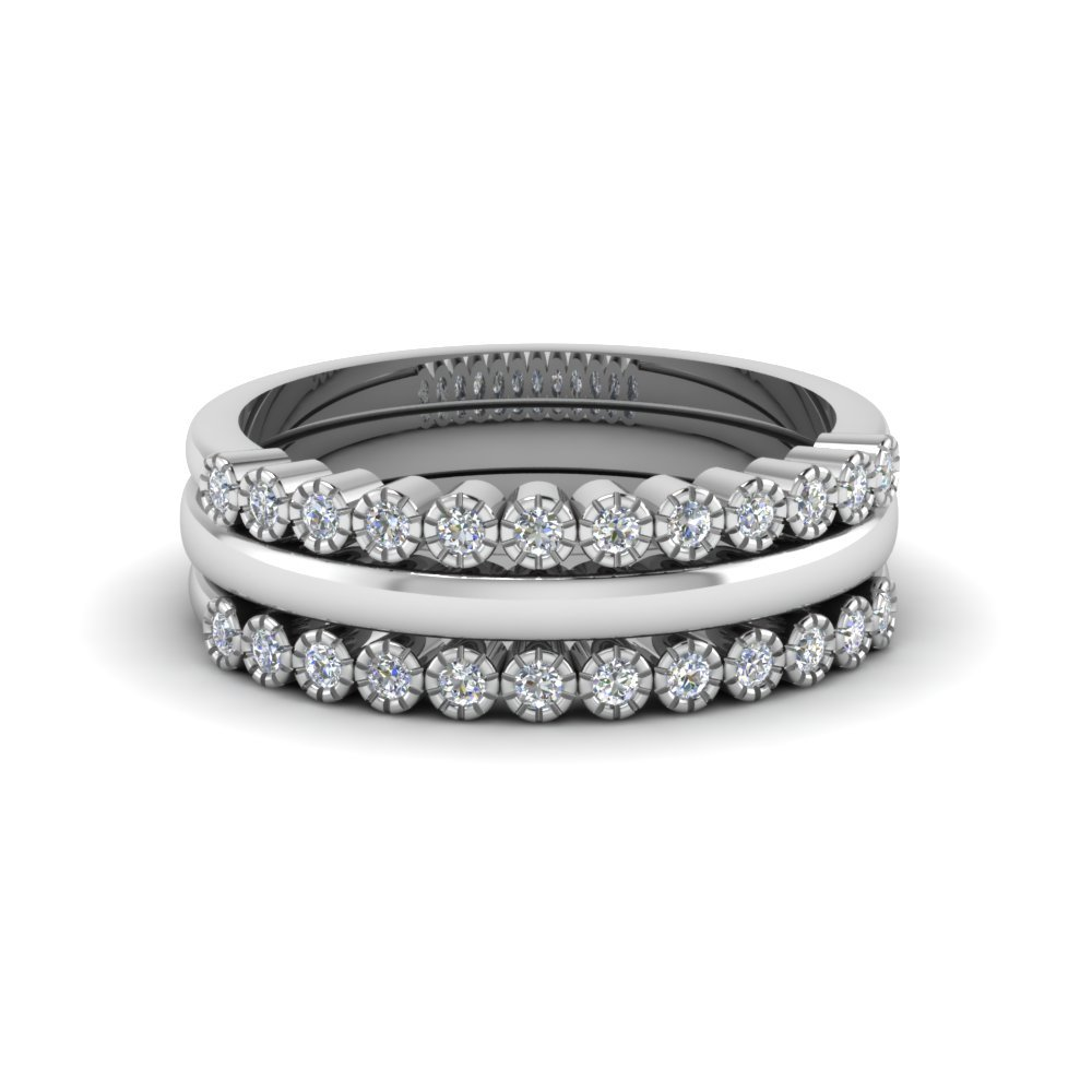 Platinum Stackable Diamond Milgrain Ring