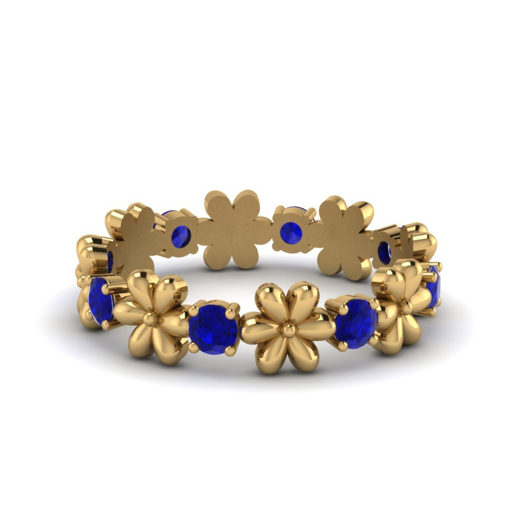 Stackable Flower Eternity sapphire Band