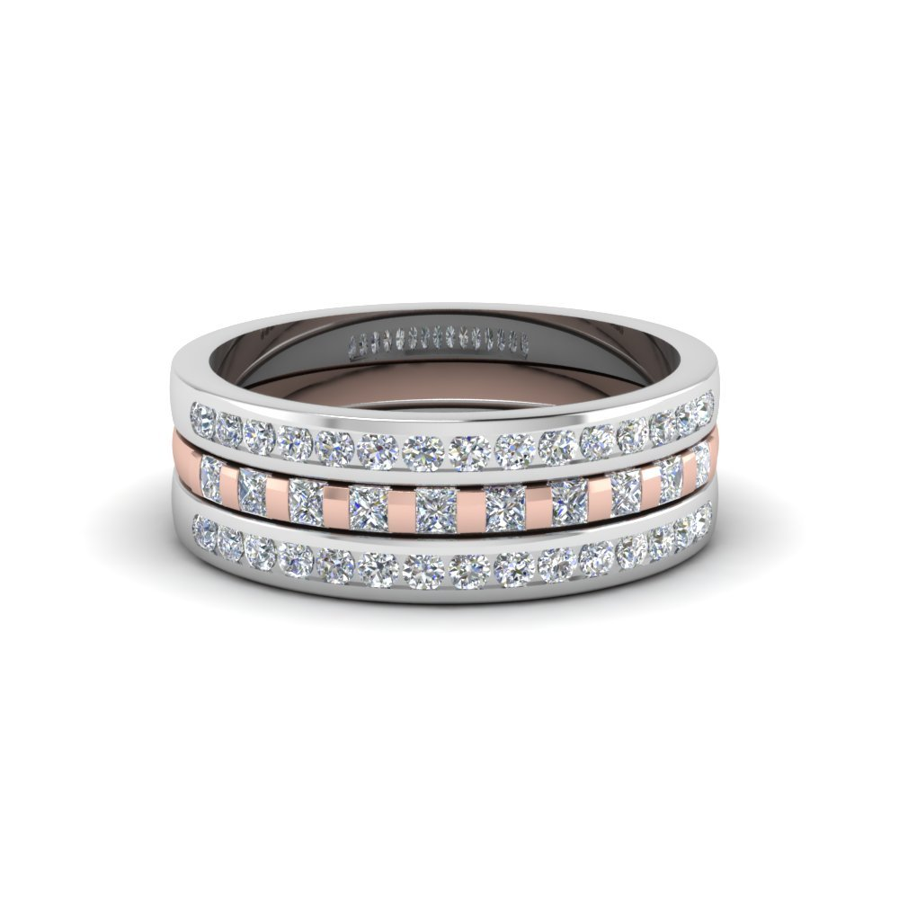Multi Tone Princess & Round Stackable Band