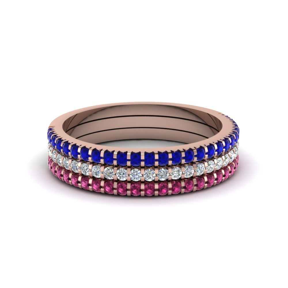 Stacking Bands With pink Sapphires