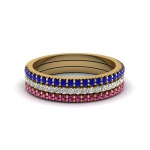 Stacking Bands With Sapphire