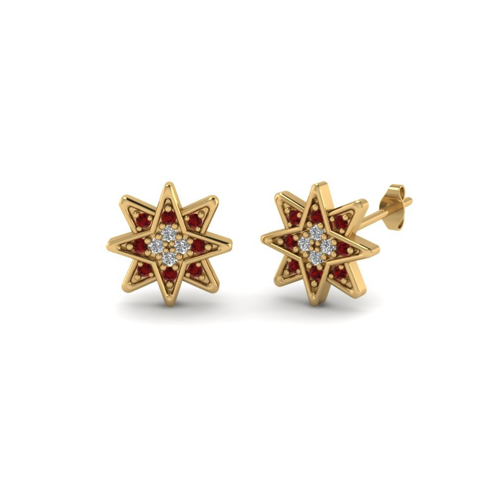Star Stud Cluster Ruby Earring