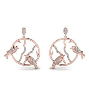 Stud Bird Drop Diamond Earring In 18K Rose Gold