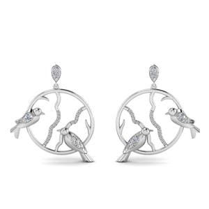 Stud Bird Drop Diamond Earring In 14K White Gold