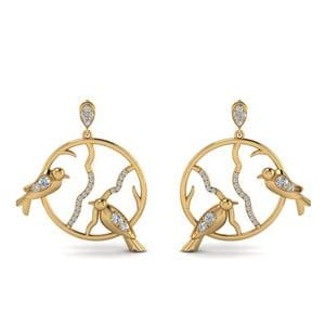 Stud Bird Drop Diamond Earring In 18K Yellow Gold
