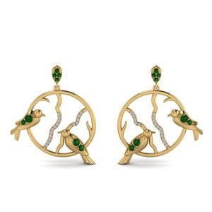 Stud Bird Drop Emerald Earring