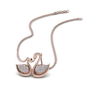 Swan Design Mothers Diamond Necklace In 14K Rose Gold