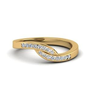 Swirl Channel Diamond Band For Women In 14K Yellow Gold