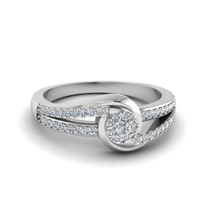 Swirl Halo Diamond Promise Ring In 14K White Gold