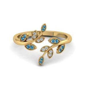 Delicate Blue Topaz Leaf Ring