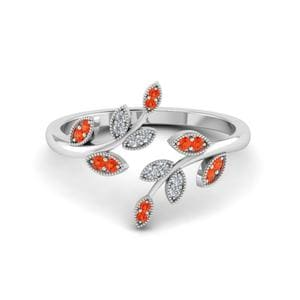 Swirl Leaf Orange Topaz Ring