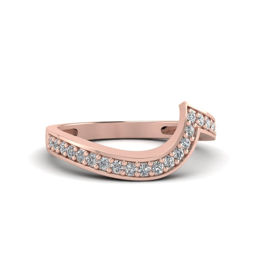 Swirl Pave Diamond Matching Band In 14K Rose Gold