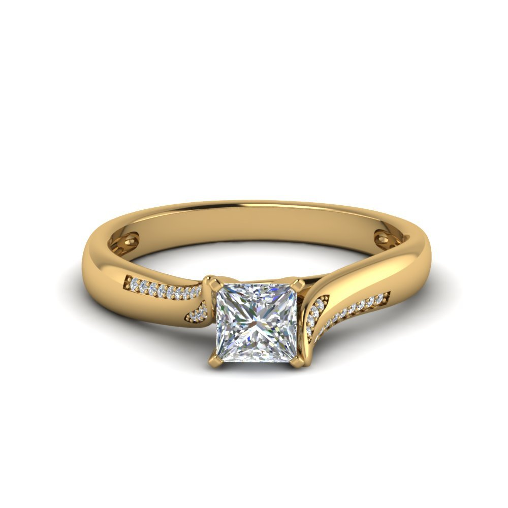 Swirl Pave Princess Diamond Ring In 18K Yellow Gold