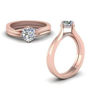 Swirl Prong Round Diamond Wedding Set In 14K Rose Gold