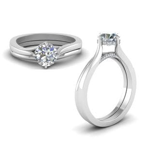 Swirl Prong Round Diamond Wedding Set In 14K White Gold