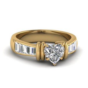 18k Gold Heart Diamond Rings