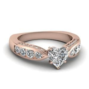 Tapered 1.50 Carat Heart Diamond Vintage Engagement Ring In 14K Rose Gold