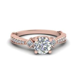 Tapered Diamond 3 Stone Engagement Ring In 14K Rose Gold
