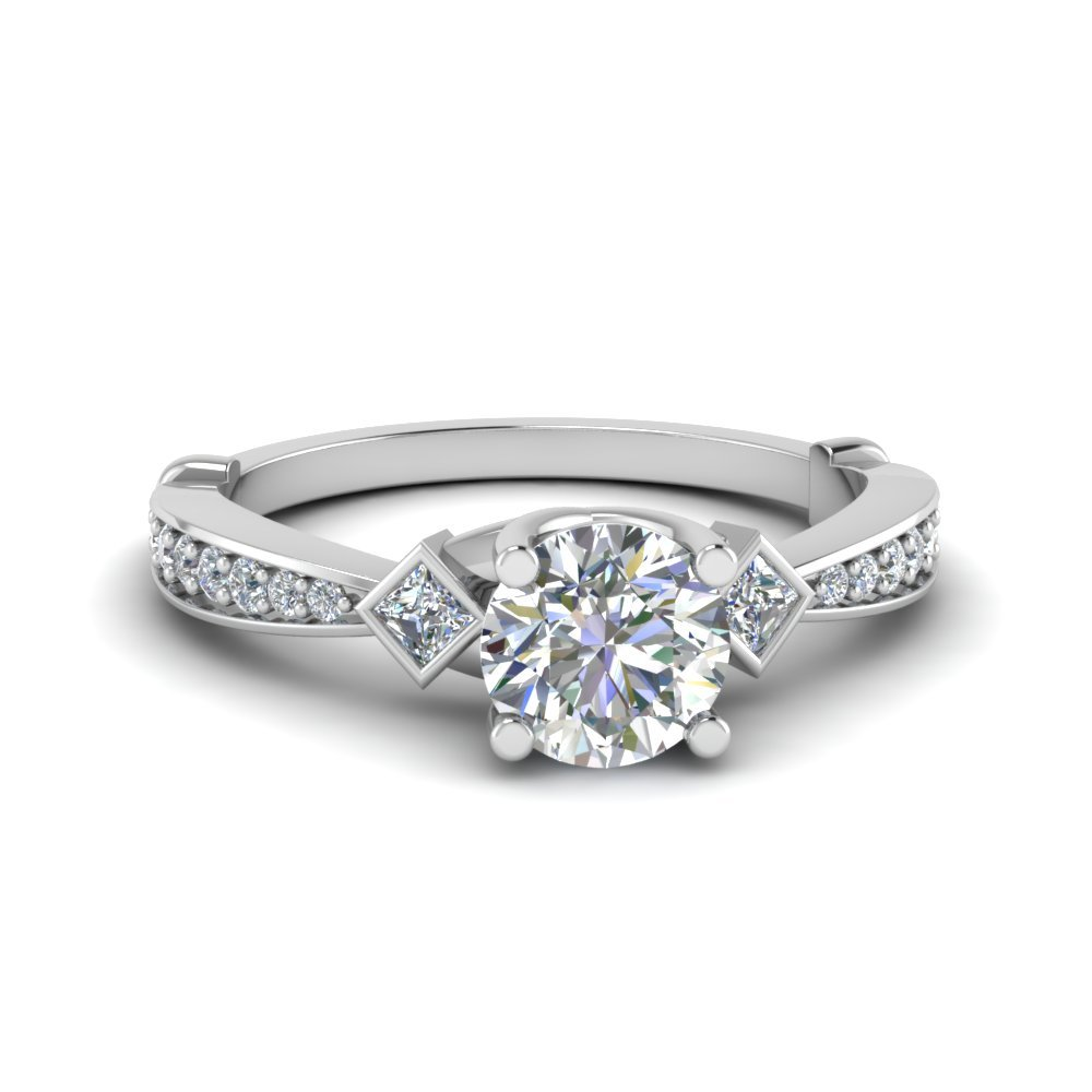 Tapered Diamond 3 Stone Engagement Ring In 14K White Gold