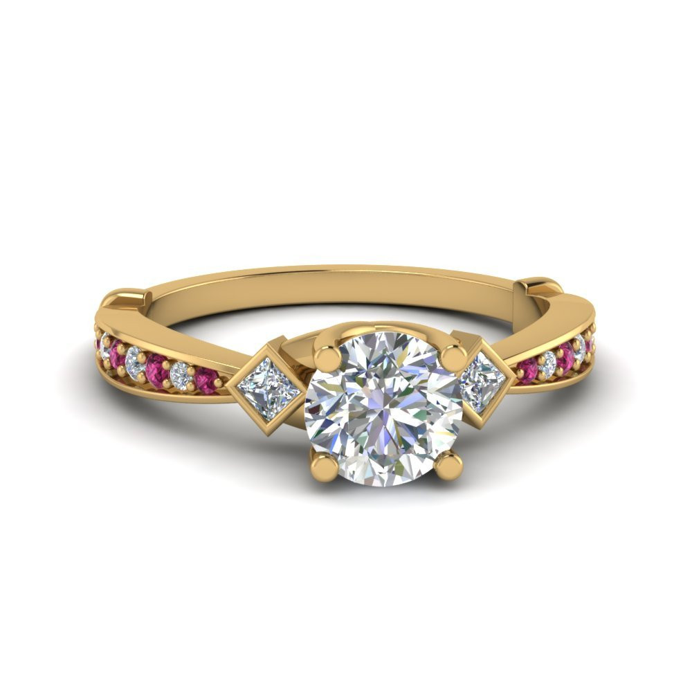 Pink Sapphire Tapered Diamond Ring