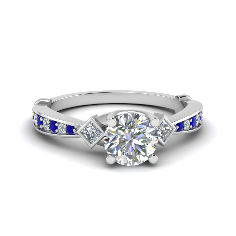 Tapered Diamond 3 Stone Engagement Ring With Sapphire In 14K White Gold