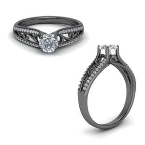 Tapered Filigree Diamond Ring